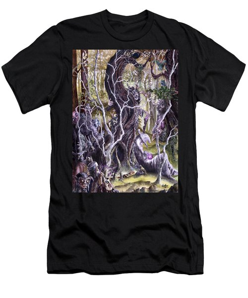 Men's T-Shirt (Slim Fit) featuring the painting Heist Of The Wizard's Staff 2 by Curtiss Shaffer
