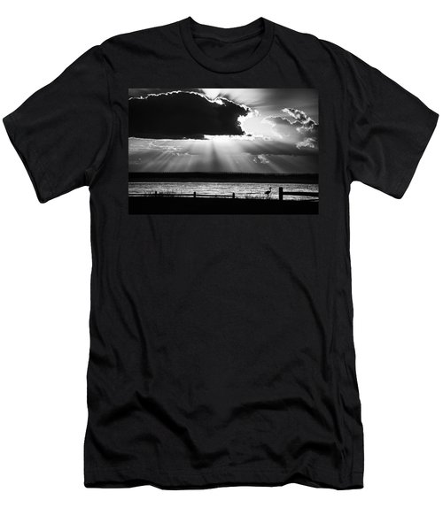 Men's T-Shirt (Slim Fit) featuring the photograph Heron And  The Cloudburst by Michael Thomas