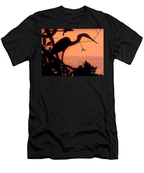 Men's T-Shirt (Slim Fit) featuring the drawing Heron Sunset by D Hackett