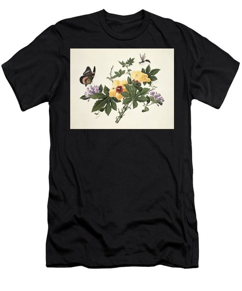 Hibiscus And Butterfly Men's T-Shirt (Athletic Fit)