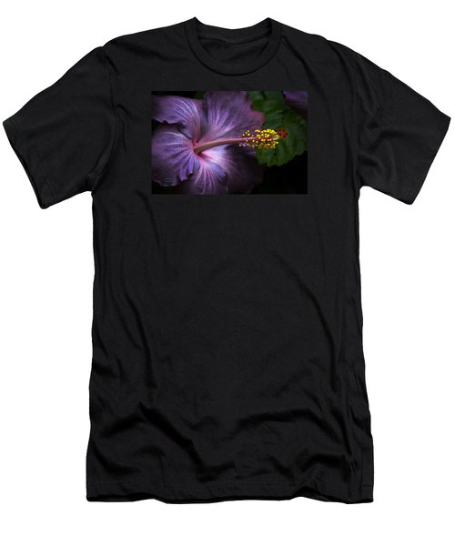 Hibiscus Bloom In Lavender Men's T-Shirt (Slim Fit) by Julie Palencia