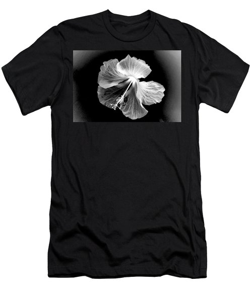 Hibiscus In Black And White Men's T-Shirt (Athletic Fit)