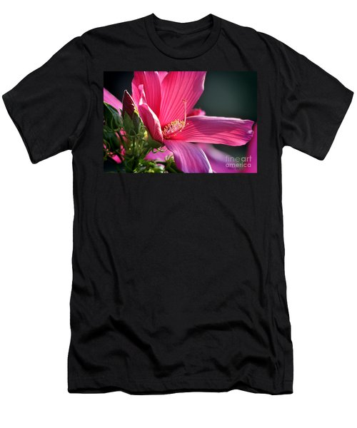 Men's T-Shirt (Slim Fit) featuring the photograph Hibiscus Morning Bright by Nava Thompson