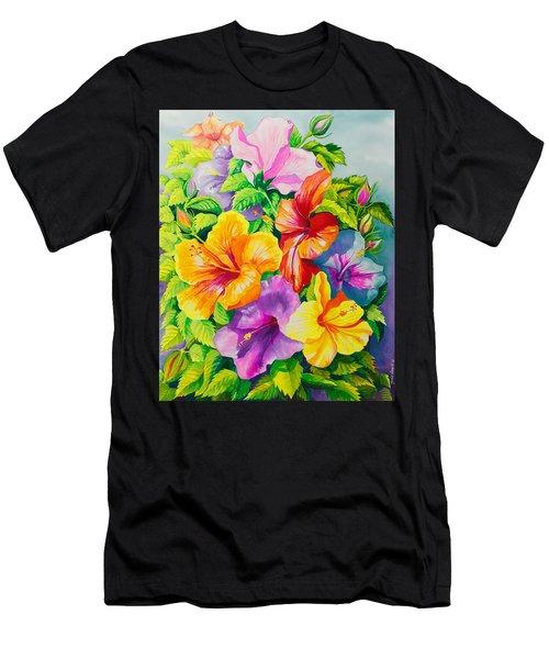Hibiscus Rainbow Array Men's T-Shirt (Athletic Fit)
