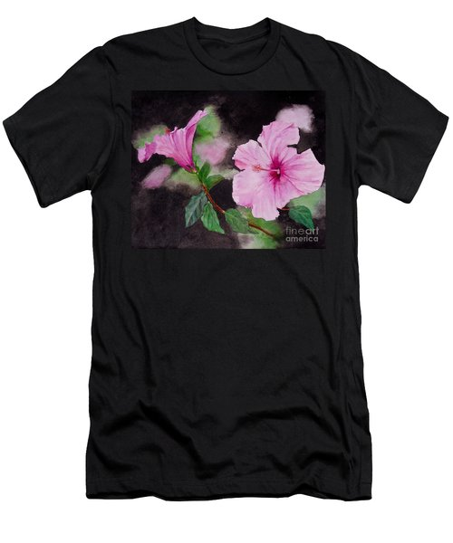 Men's T-Shirt (Slim Fit) featuring the painting Hibiscus - So Pretty In Pink by Sher Nasser