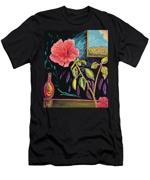 Hibiscus With Vase Men's T-Shirt (Athletic Fit)