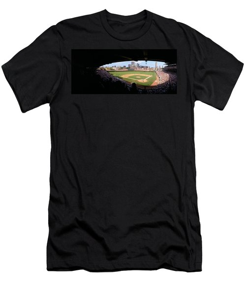 High Angle View Of A Baseball Stadium Men's T-Shirt (Slim Fit) by Panoramic Images