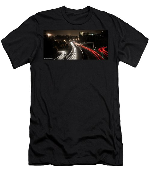 Men's T-Shirt (Athletic Fit) featuring the photograph Highway's Lights by Stwayne Keubrick