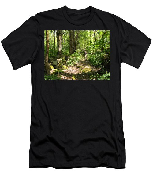 Hiking Off Trail Men's T-Shirt (Slim Fit) by Melinda Fawver