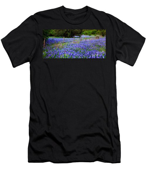 Hill Country Heaven - Texas Bluebonnets Wildflowers Landscape Fence Flowers Men's T-Shirt (Athletic Fit)
