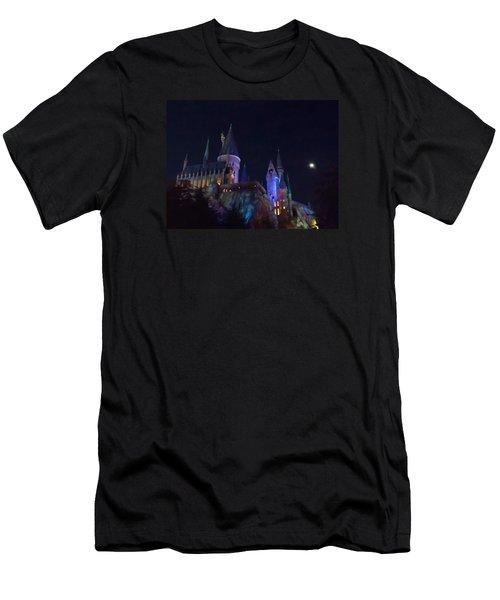 Hogwarts Castle At Night Men's T-Shirt (Slim Fit) by Kathy Long