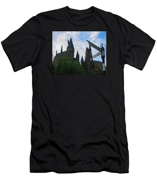 Hogwarts Castle With Signs Men's T-Shirt (Slim Fit) by Kathy Long