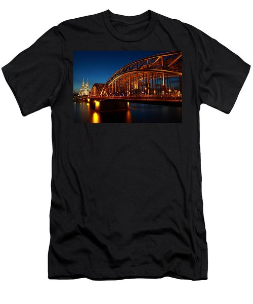 Hohenzollern Bridge Men's T-Shirt (Slim Fit) by Mihai Andritoiu