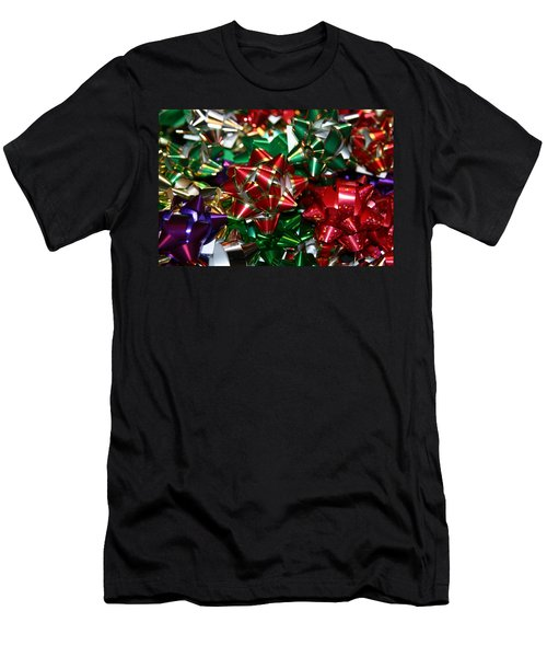 Men's T-Shirt (Slim Fit) featuring the photograph Holiday Bows by Denyse Duhaime