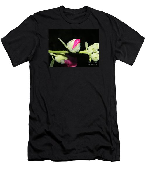 Men's T-Shirt (Athletic Fit) featuring the photograph Hollyhock Buds by Ann E Robson