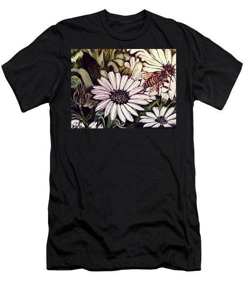 Men's T-Shirt (Slim Fit) featuring the painting Honeybee Cruzing The Daisies by Kimberlee Baxter