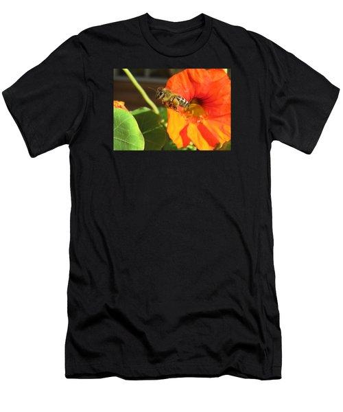 Honeybee Leaving Nasturtium With A Full Pollen Basket Men's T-Shirt (Athletic Fit)