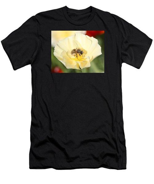 Honeybee On Cream Poppy Men's T-Shirt (Athletic Fit)
