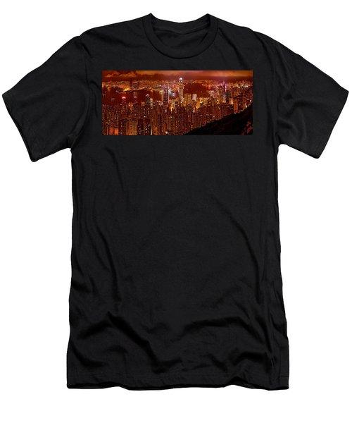 Hong Kong In Golden Brown Men's T-Shirt (Athletic Fit)