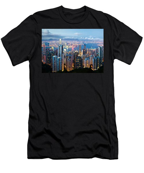 Hong Kong At Dusk Men's T-Shirt (Athletic Fit)