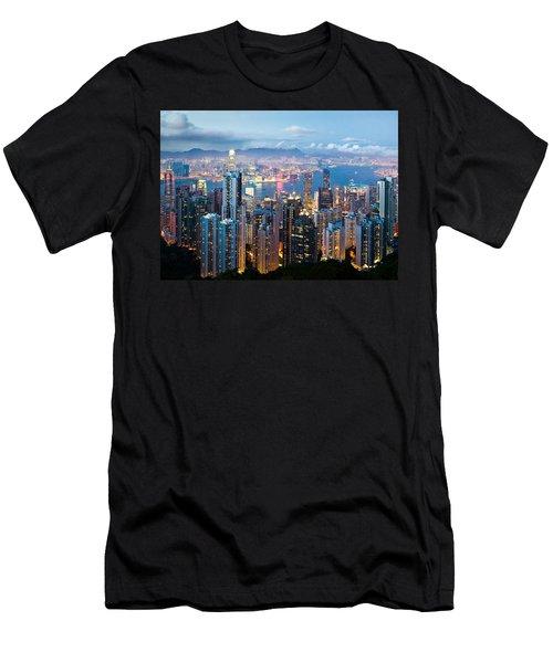 Hong Kong At Dusk Men's T-Shirt (Athletic Fit)
