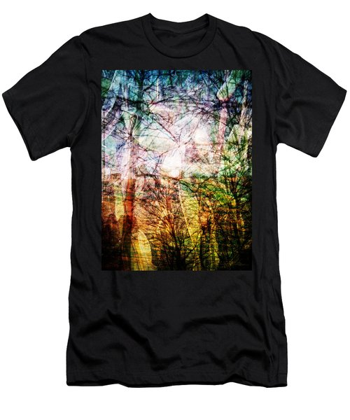 Men's T-Shirt (Slim Fit) featuring the mixed media Hoosier Country Opus 1 by Sandy MacGowan