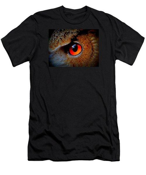Horned Owl Eye Men's T-Shirt (Slim Fit) by David Mckinney