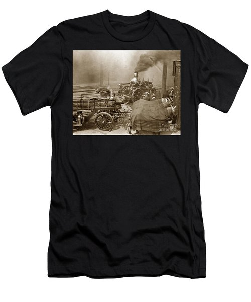Horse Drawn Water Steam Pumper Fire Truck Circa 1906 Men's T-Shirt (Athletic Fit)