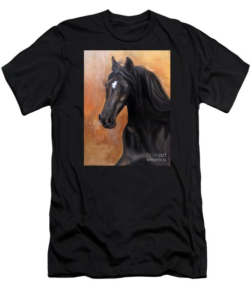 Men's T-Shirt (Slim Fit) featuring the painting Horse - Lucky Star by Go Van Kampen
