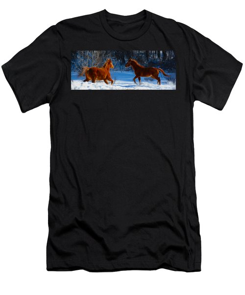 Horses At Play Men's T-Shirt (Athletic Fit)