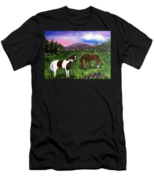 Men's T-Shirt (Slim Fit) featuring the painting Horses by Jamie Frier