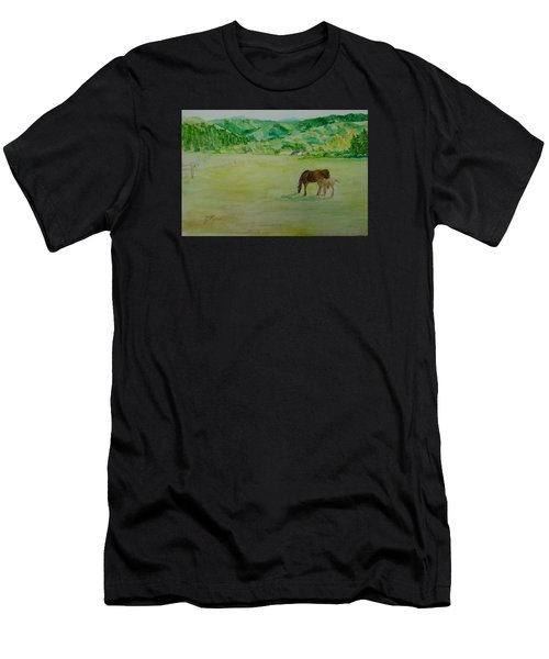 Horses Mare Foal Pastures Rural Landscape Original Art Oregon Western Artist K. Joann Russell Men's T-Shirt (Athletic Fit)