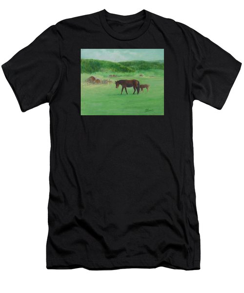 Horses Rural Pasture Western Landscape Original Oil Colorful Art Oregon Artist K. Joann Russell Men's T-Shirt (Athletic Fit)