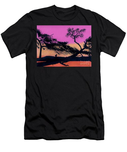 Men's T-Shirt (Slim Fit) featuring the drawing Hot Pink Sunset by D Hackett