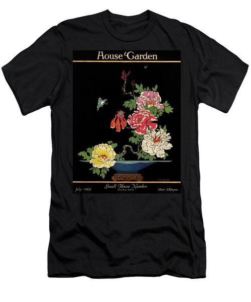 House & Garden Cover Illustration Of Peonies Men's T-Shirt (Athletic Fit)