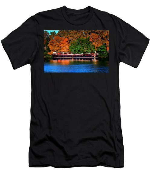 Men's T-Shirt (Slim Fit) featuring the photograph House Boat River Barge In France by Tom Prendergast