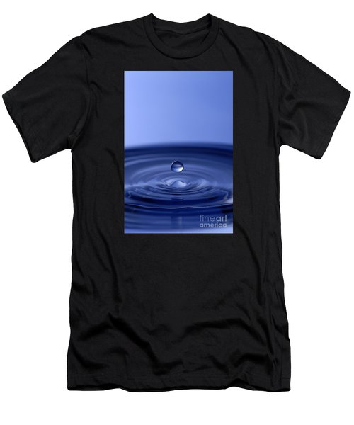 Hovering Blue Water Drop Men's T-Shirt (Athletic Fit)