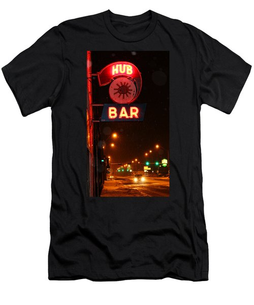 Hub Bar Snowy Night Men's T-Shirt (Athletic Fit)