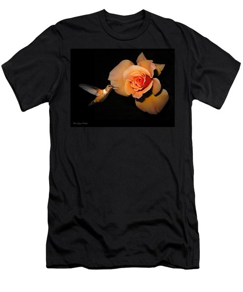 Hummingbird And Orange Rose Men's T-Shirt (Slim Fit) by Joyce Dickens