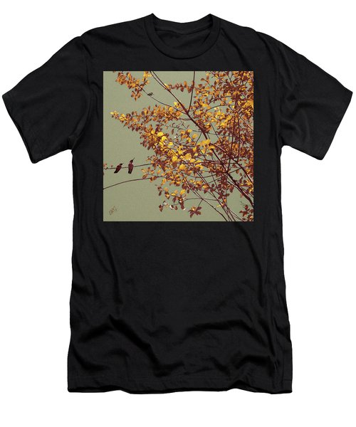 Hummingbirds On Yellow Tree Men's T-Shirt (Athletic Fit)