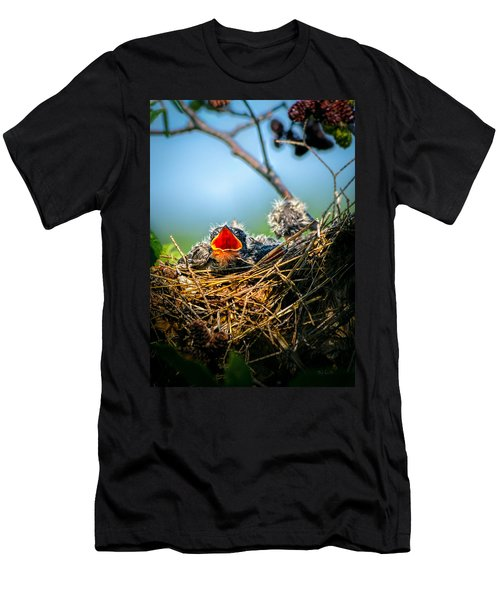 Hungry Tree Swallow Fledgling In Nest Men's T-Shirt (Athletic Fit)