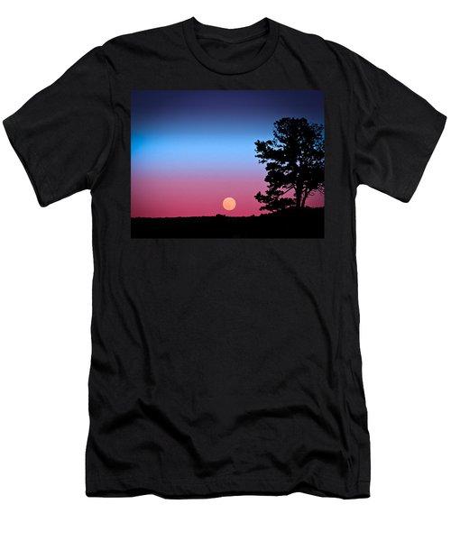 Men's T-Shirt (Slim Fit) featuring the photograph Hunter's Moonrise In Eastern Arizona by John Haldane