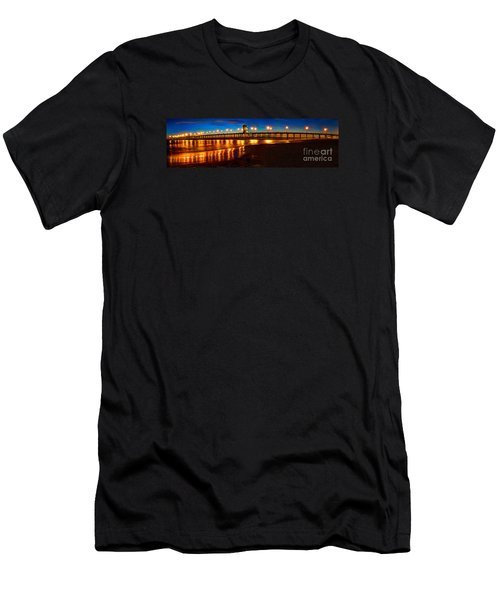 Men's T-Shirt (Slim Fit) featuring the photograph Huntington Beach Pier Twilight Panoramic by Jim Carrell