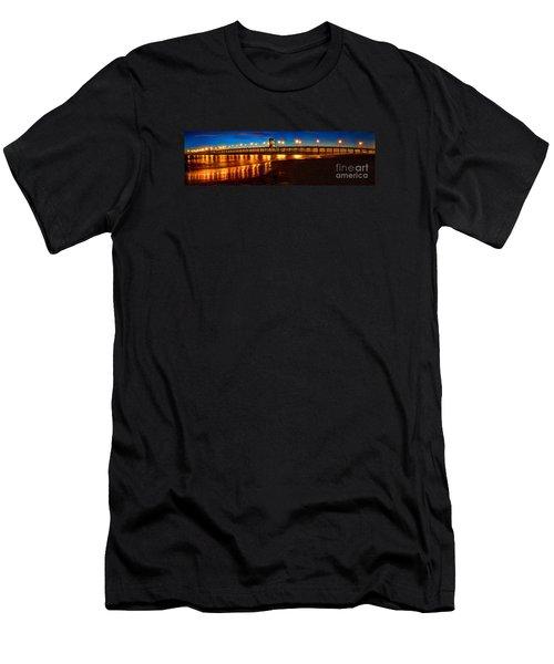Huntington Beach Pier Twilight Panoramic Men's T-Shirt (Slim Fit) by Jim Carrell
