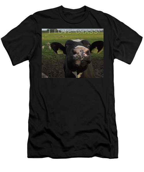 I Love Grass --said The Cow. Men's T-Shirt (Athletic Fit)