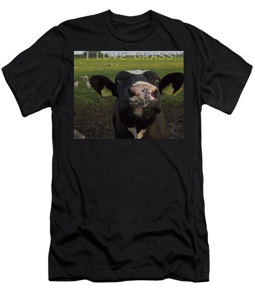 I Love Grass Men's T-Shirt (Athletic Fit)