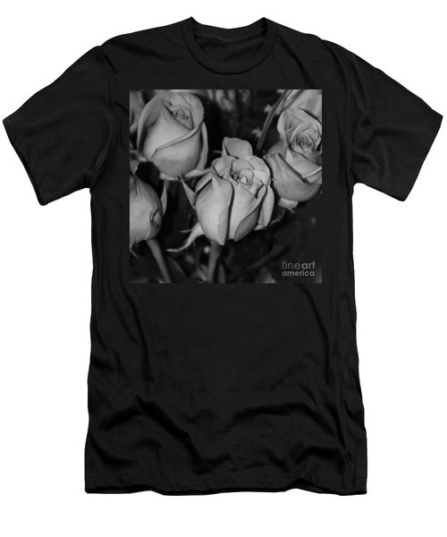 Black And White Roses Men's T-Shirt (Athletic Fit)