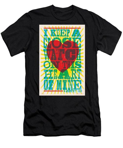 I Walk The Line - Johnny Cash Lyric Poster Men's T-Shirt (Athletic Fit)