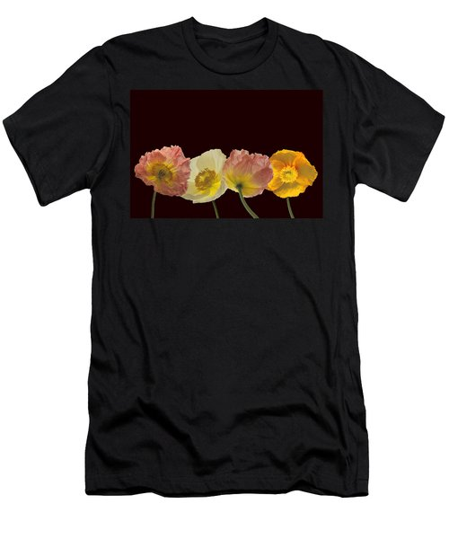Men's T-Shirt (Slim Fit) featuring the photograph Iceland Poppies On Black by Susan Rovira