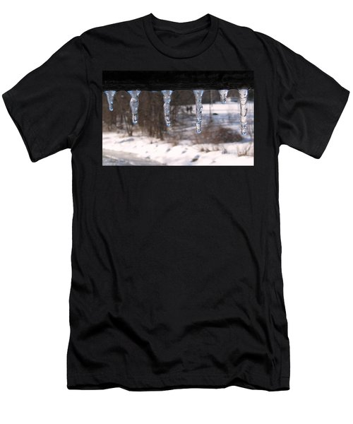 Men's T-Shirt (Slim Fit) featuring the photograph Icicles On The Bridge by Nina Silver